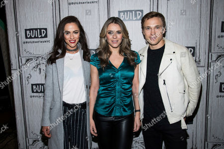 """Alexandra Park, William Moseley, Elizabeth Hurley. Alexandra Park, Elizabeth Hurley and William Moseley participate in the BUILD Speaker Series to discuss the the television show """"The Royals"""" at AOL Studios, in New York"""