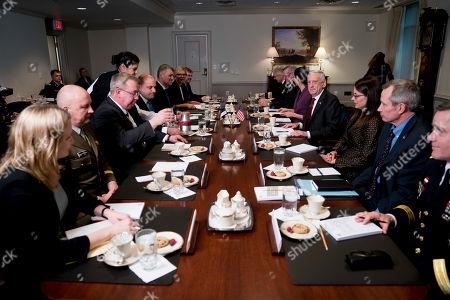 Jim Mattis, Juri Luik. Defense Secretary Jim Mattis, fourth from right, holds a meeting with Estonian Defense Minister Juri Luik, fifth from left, at the Pentagon in Washington