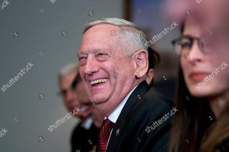 Defense Secretary Jim Mattis smiles during a meeting with Estonian Defense Minister Juri Luik at the Pentagon in Washington
