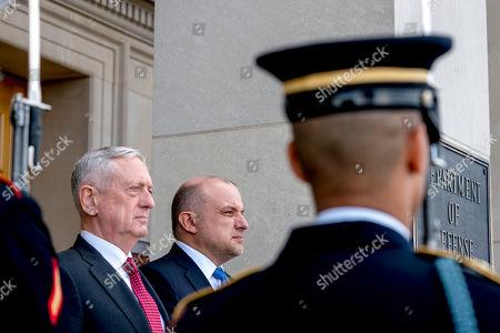 Jim Mattis, Juri Luik. Defense Secretary Jim Mattis, left, hosts an enhanced honor cordon for Estonian Defense Minister Juri Luik, center, at the Pentagon in Washington