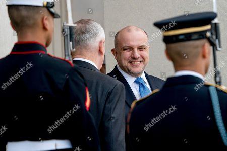 Jim Mattis, Juri Luik. Defense Secretary Jim Mattis, center left, hosts enhanced honor cordon for Estonian Defense Minister Juri Luik, center right, at the Pentagon in Washington