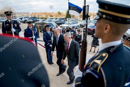 Jim Mattis, Juri Luik. Defense Secretary Jim Mattis, center right, hosts an enhanced honor cordon for Estonian Defense Minister Juri Luik, center left, at the Pentagon in Washington