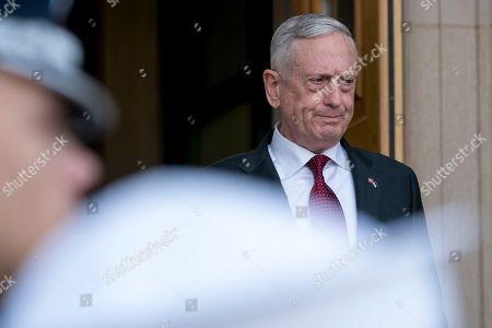 Defense Secretary Jim Mattis arrives for an enhanced honor cordon for Estonian Defense Minister Juri Luik at the Pentagon in Washington