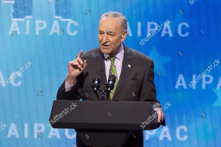 Stock Image of Chuck Schumer, United States Senator (D) from New York, speaking at the AIPAC (American Israel Public Affairs Committee) Policy Conference at the Walter E. Washington Convention Center