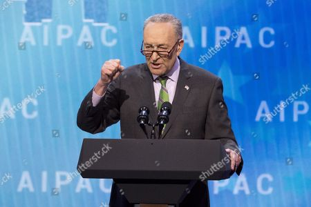 Chuck Schumer, United States Senator (D) from New York, speaking at the AIPAC (American Israel Public Affairs Committee) Policy Conference at the Walter E. Washington Convention Center