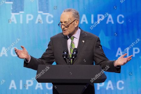 Stock Picture of Chuck Schumer, United States Senator (D) from New York, speaking at the AIPAC (American Israel Public Affairs Committee) Policy Conference at the Walter E. Washington Convention Center