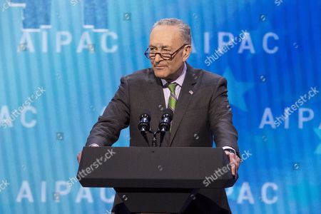 Stock Photo of Chuck Schumer, United States Senator (D) from New York, speaking at the AIPAC (American Israel Public Affairs Committee) Policy Conference at the Walter E. Washington Convention Center