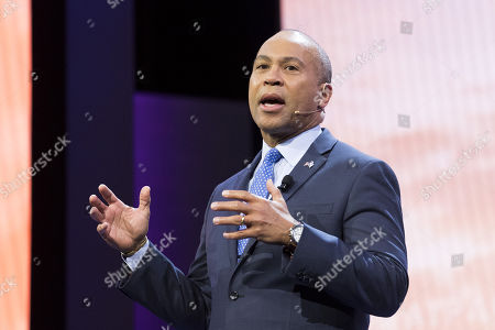 Stock Image of Deval Patrick, Former Governor of Massachusetts, speaking at the AIPAC (American Israel Public Affairs Committee) Policy Conference at the Walter E. Washington Convention Center