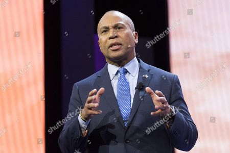 Stock Photo of Deval Patrick, Former Governor of Massachusetts, speaking at the AIPAC (American Israel Public Affairs Committee) Policy Conference at the Walter E. Washington Convention Center