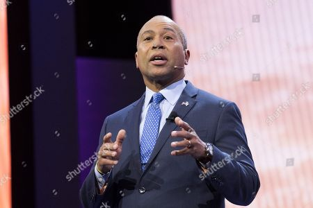 Stock Picture of Deval Patrick, Former Governor of Massachusetts, speaking at the AIPAC (American Israel Public Affairs Committee) Policy Conference at the Walter E. Washington Convention Center