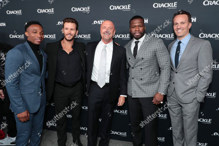 Arlen Escarpeta, Ryan Kwanten, Joe Halpin, Creator/Writer/Executive Producer, 50 Cent, Executive Producer, Eric Berger, General Manager, Crackle, and Chief Digital Officer, Sony Pictures Television Networks,