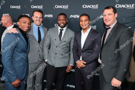 Stock Photo of Arlen Escarpeta, Eric Berger, General Manager, Crackle, and Chief Digital Officer, Sony Pictures Television Networks, 50 Cent, Executive Producer, Cory Hardrict, John Orlando, SVP of Programming and Development, Crackle,