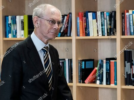 Former President of the European council, Belgium Herman Van Rompuy prior to a meeting in Brussels, Belgium, 08 March 2018.  Van Rompuy present  a reports 'Re-energising Europe: A package deal for the EU27', a package of proposals for reviving the EU, the result of several months of work by ten analytical institutes from all over Europe.