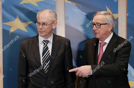EU commission President Jean-Claude Juncker (R) welcomes Former President of the European council, Belgium  Herman Van Rompuy prior to a meeting in Brussels, Belgium, 08 March 2018. Van Rompuy present  a reports 'Re-energising Europe: A package deal for the EU27', a package of proposals for reviving the EU, the result of several months of work by ten analytical institutes from all over Europe.
