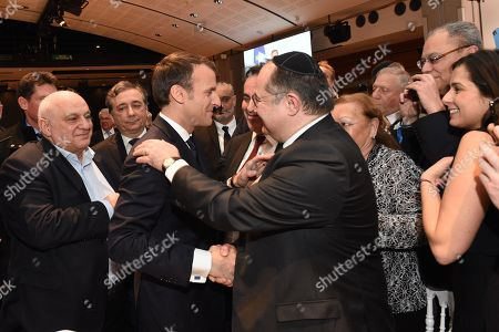 Stock Picture of Emmanuel Macron, Joel Mergui and Ariel Goldmann