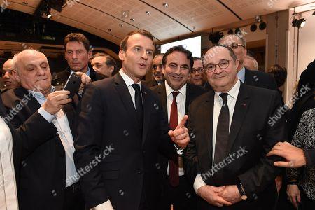 Stock Photo of Emmanuel Macron, Joel Mergui and Ariel Goldmann