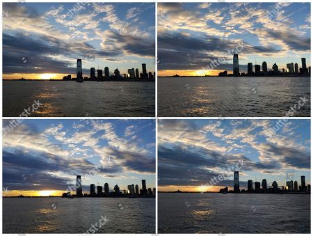 Stock Image of This combo shows photos of a sunset along the Hudson River, taken in New York with a view of New Jersey, on . Starting at the top left and going clockwise, the phones used are Samsung's Galaxy S9, Apple's iPhone X, Google's Pixel 2 XL and Samsung's Galaxy Note 8. All top-end phones take decent photos, even in challenging low-light conditions, though there are some color variations