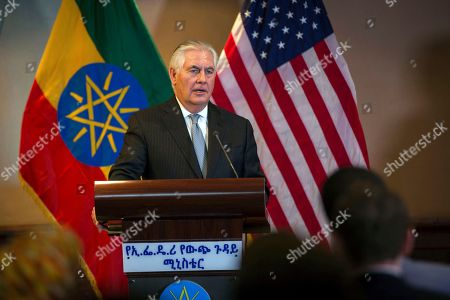 US Secretary of State Rex Tillerson addresses the media after his meeting with Ethiopian Foreign Minister Dr. Workneh Gebeyehu, at a joint press conference in Addis Ababa, Ethiopia, . The top U.S. diplomat and a top African official tried Thursday to move past President Donald Trump's slur about Africa, deeming it a closed matter that need not be revisited