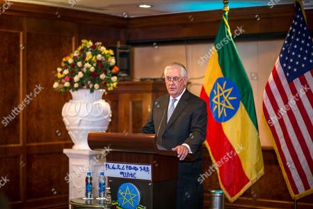 US Secretary of State Rex Tillerson addresses the media after his meeting with Ethiopian Foreign Minister Dr. Workneh Gebeyehu at a joint press conference, in Addis Ababa, Ethiopia, . The top U.S. diplomat and a top African official tried Thursday to move past President Donald Trump's slur about Africa, deeming it a closed matter that need not be revisited