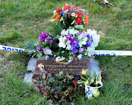 Stock Picture of A memorial plaque for Alexander Skripal, the  son of ex Russian spy Sergei Skripal in Salisbury, Wiltshire, southern England, 08 March 2018. The London Metropolitan Police Service (MPS) reported on 07 March 2018 that Detectives investigating how former Russian spy Sergei aged 66 and Yulia Skripal became seriously ill in Salisbury southern England on 04 March 2018 continue to work with specialist health experts. Police are now in a position to confirm that their symptoms are a result of exposure to a nerve agent. Scientific tests by Government experts have identified the specific nerve agent used which will help identify the source but at this stage in a fast-paced ongoing investigation we will not comment further. Assistant Commissioner Mark Rowley, the head of Counter Terrorism Policing, said: 'Having established that they were exposed to a nerve agent we are now treating this as a major incident involving an attempted murder by the administration of a nerve agent.'  Also the police officer who was left seriously ill after being exposed to the same nerve agent attack on a former Russian spy and his daughter was named on 08 March as seargent Nick Bailey.