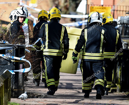 Firefighters are called to remove suspect objects from the nerve agent crime scene to a contamination bin in the Cathedral City of Salisbury, Wiltshire, southern England, 08 March 2018, next to where ex Russian spy Sergei Skripal aged 66 and his daughter Yulia aged 33 were found on a bench suffering from extreme exposure to a rare nerve agent on 04 March 2018. The London Metropolitan Police Service (MPS) reported on 07 March 2018 that Detectives investigating how former Russian spy Sergei and Yulia Skripal became seriously ill in Salisbury southern England on 04 March 2018 continue to work with specialist health experts. Police are now in a position to confirm that their symptoms are a result of exposure to a nerve agent. Scientific tests by Government experts have identified the specific nerve agent used which will help identify the source but at this stage in a fast-paced ongoing investigation we will not comment further. Assistant Commissioner Mark Rowley, the head of Counter Terrorism Policing, said: 'Having established that they were exposed to a nerve agent we are now treating this as a major incident involving an attempted murder by the administration of a nerve agent.'