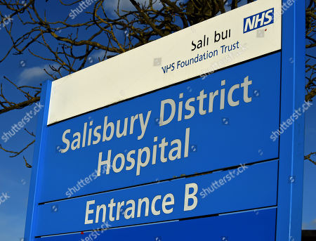 Stock Photo of A view on a hospital sign in Salisbury, Wiltshire, southern England, 08 March 2018, where ex Russian spy Sergei Skripal aged 66 and his daughter Yulia aged 33 were taken after they were found in a bench suffering from extreme exposure to a rare nerve agent on 04 March 2018. The London Metropolitan Police Service (MPS) reported on 07 March 2018 that Detectives investigating how former Russian spy Sergei aged 66 and Yulia Skripal became seriously ill in Salisbury southern England on 04 March 2018 continue to work with specialist health experts. Police are now in a position to confirm that their symptoms are a result of exposure to a nerve agent. Scientific tests by Government experts have identified the specific nerve agent used which will help identify the source but at this stage in a fast-paced ongoing investigation we will not comment further. Assistant Commissioner Mark Rowley, the head of Counter Terrorism Policing, said: 'Having established that they were exposed to a nerve agent we are now treating this as a major incident involving an attempted murder by the administration of a nerve agent.'  Also the police officer who was left seriously ill after being exposed to the same nerve agent attack on a former Russian spy and his daughter was named on 08 March as seargent Nick Bailey.