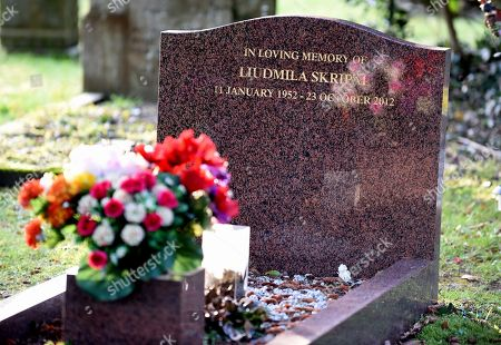 The grave of Liudmila Skripal, wife of ex Russian spy Sergei Skripal in Salisbury, Wiltshire, southern England, 08 March 2018. The London Metropolitan Police Service (MPS) reported on 07 March 2018 that Detectives investigating how former Russian spy Sergei aged 66 and Yulia Skripal became seriously ill in Salisbury southern England on 04 March 2018 continue to work with specialist health experts. Police are now in a position to confirm that their symptoms are a result of exposure to a nerve agent. Scientific tests by Government experts have identified the specific nerve agent used which will help identify the source but at this stage in a fast-paced ongoing investigation we will not comment further. Assistant Commissioner Mark Rowley, the head of Counter Terrorism Policing, said: 'Having established that they were exposed to a nerve agent we are now treating this as a major incident involving an attempted murder by the administration of a nerve agent.'  Also the police officer who was left seriously ill after being exposed to the same nerve agent attack on a former Russian spy and his daughter was named on 08 March as seargent Nick Bailey.