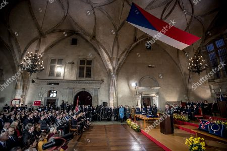 Czech Republic's re-elected President Milos Zeman delivers a speech during his inauguration ceremony in Vladislav Hall at Prague Castle in Prague, Czech Republic, 08 March 2018. Zeman, which swore for his second five-year tenure, to become the Czech Republic's second president directly elected by citizens on January, in the second round defeated Jiri Drahos. Zeman is the third president of the Czech Republic after Vaclav Klaus and the eleven head of state since Czechoslovakia's establishment in 1918.
