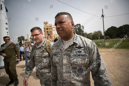 US Air Force  Lt. Gen. Richard Clark (R), United States European Command at the Israeli Air Force Base of Hatzor, in central Israel, 08 March 2018 during a joint IDF-US military exercise 'Juniper Cobra  2018'. The ninth 'Juniper Cobra' exercise runs from 04 - 15 March 2018. Over 2,500 US troops deployed in Europe will be participating in the exercise, alongside 2,000 Israeli Aerial Defense troops. The exercise simulates a scenario in which US forces would deploy to Israel in order to aid the IDF Aerial Defense forces, The simulations will include the use of the 'Arrow,' 'Iron Dome', 'Patriot', and 'David's Sling' Systems, that were declared operational in April 2017.