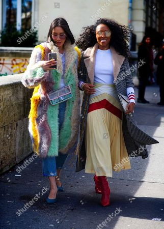 Eva Chen with Shiona Turini, on Avenue du Président Wilson, Fall Winter, Paris Fashion Week, Paris France - 5 March 2018.