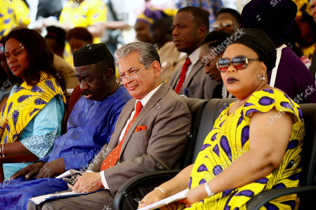 Farid Zarif (2nd-R) Special Representative of the United Nations Secretary General (SRSG) and Leymah Gbowee (R), 2011 Nobel Peace Prize Laureate at program marking International Women's Day National theme: Act Now: 'Support The Liberian Women Agenda' in Monrovia, Liberia, 08 March 2018.  International Day of Women is celebrated in recognition of Women the world over on 08 March.
