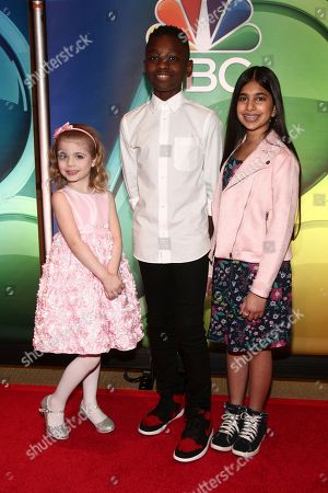 Ariana Jalia, Miles Caton, Shivani Sahu. Ariana Jalia, from left, Miles Caton and Shivani Sahu attend NBC's New York 2018 mid-season press junket at the Four Seasons Hotel, in New York