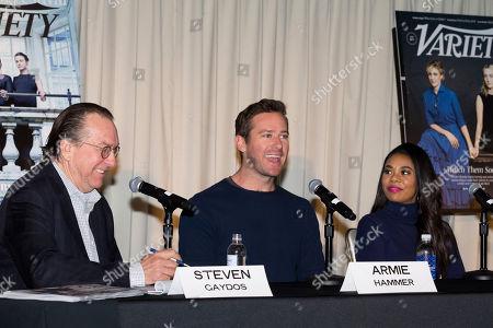 (L-R) Steven Gaydos, Armie Hammer, and Regina Hall