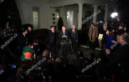 Chung Eui-yong, Suh Hoon. South Korean national security director Chung Eui-yong, center, speaks to reporters at the White House in Washington, as intelligence chief Suh Hoon, left and Cho Yoon-je, the South Korea ambassador to United States listen. President Donald Trump has accepted an offer of a summit from the North Korean leader and will meet with Kim Jong Un by May, a top South Korean official said in a remarkable turnaround in relations between two historic adversaries