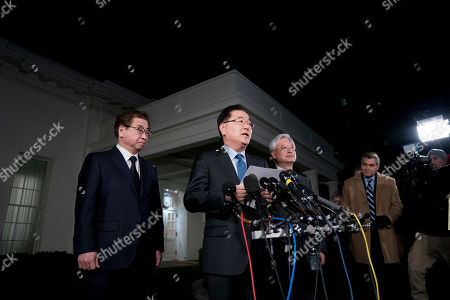 Chung Eui-yong, Suh Hoon. South Korean national security director Chung Eui-yong, center, accompanied by intelligence chief Suh Hoon, left, speaks to reporters at the White House in Washington, . President Donald Trump has accepted an offer of a summit from the North Korean leader and will meet with Kim Jong Un by May, a top South Korean official said Thursday, in a remarkable turnaround in relations between two historic adversaries