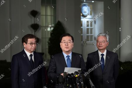 Stock Picture of Chung Eui-yong, Suh Hoon. South Korean national security director Chung Eui-yong, center, speaks to reporters at the White House in Washington, . Intelligence chief Suh Hoon is at left. President Donald Trump has accepted an offer of a summit from the North Korean leader and will meet with Kim Jong Un by May, a top South Korean official said Thursday, in a remarkable turnaround in relations between two historic adversaries