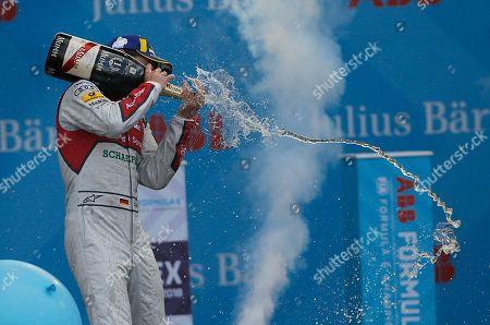 Stock Image of Audi Sport ABT Schaeffler driver Daniel Abt sprays champagne to celebrate his victory at the Formula E Mexico City ePrix auto race