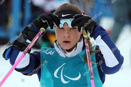 Oksana Masters of the United States trains ahead of the biathlon event held at the Alpensia Biathlon Center for the 2018 Winter Paralympics in Pyeongchang, South Korea