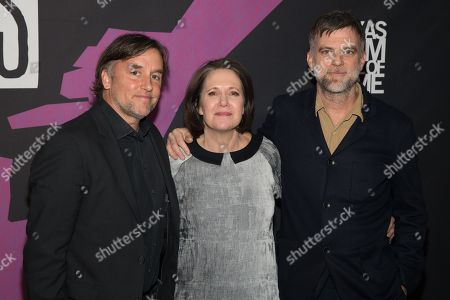 Richard Linklater, AFS CEO Rebecca Campbell and Paul Thomas Anderson pose on the red carpet