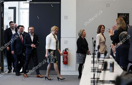 The designated minister for Employment, Hubertus Heil (2-L), State Secretary Michael Roth (3-L), designated ministers for Family Affairs, Franziska Giffey (C), for Environment, Svenja Schulze (2-R) and for Justice, Katarina Barley (R) attend the fraction meeting of the party, in Berlin, Germany, 09 March 2018. SPD presented the names of their six ministers in the new German government.