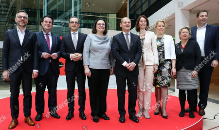 (L-R) Michael Roth, Federal treasurer of the Social Democratic Party (SPD), Hubertus Heil, designate Minister for Employment, Heiko Maas, designate Foreign Minister, Andrea Nahles, parliamentary group leader of the Social Democratic Party (SPD), Olaf Scholz, Acting Leader and designate Finance Minister, Katarina Barley, designate Minister of Justice, Franziska Giffey, designate Minister of Family, Svenja Schulze, designate Minister of the Environment and Lars Klingbeil Secretary General of the Social Democratic Party (SPD) poseduring a press conference at SPD headquarters Willy-Brandt-Haus in Berlin, Germany, 09 March 2018. SPD presented the names of their six ministers in the new German government.