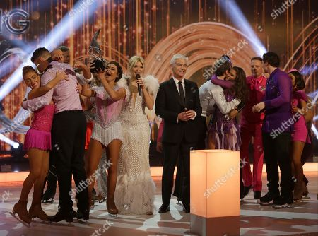 Jake Quickenden and Vanessa Bauer with Alex Beresford, Holly Willoughby, Phillip Schofield, Brooke Vincent and Matej Silecky