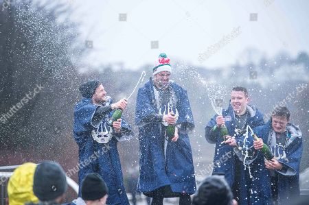 Stock Picture of mens podium Andrew Horsfall Turner (second), Dan Jones (1st) Danial Fisher and Ashley Hogg (3rd) Participants perform at Red Bull Neptune Steps in Glasgow, UK on March 10, 2018 // Leo Francis / Red Bull Content Pool // AP-1RDW5F9H51W11 // Usage for editorial use only // Please go to www.redbullcontentpool.com for further information. // 
