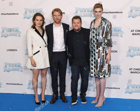Daisy Ridley, Domhnall Gleeson, James Corden and Elizabeth Debicki