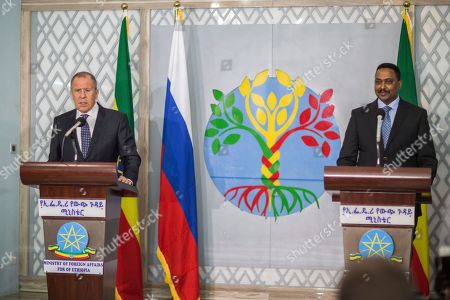 Russian Foreign Minister, Sergey Lavrov, left, remarks at a joint news conference following talks with Ethiopian Foreign Minister Workneh Gebeyehu, right, in Addis Ababa, Ethiopia. . Ethiopia and Russia have agreed to establish nuclear technology centre to work on nuclear projects for peaceful purposes in Ethiopia
