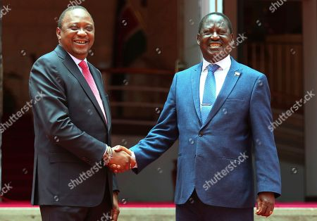 President Kenyatta, left, holds a surprise meeting with his political arch-rival and National Super Alliance (Nasa) leader Raila Odinga, right, at Harambee House in Nairobi, . President Uhuru Kenyatta and Raila Odinga will work together to bring peace in Kenya according to statement issued by State House Nairobi
