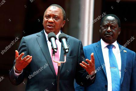 President Kenyatta, left, holds a surprise meeting with his political arch-rival and National Super Alliance (Nasa) leader Raila Odinga, right, at Harambee House in Nairobi, . President Uhuru Kenyatta and Raila Odinga will work together to bring peace in Kenya, according to statement issued by State House Nairobi