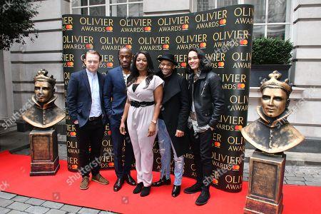 (L-R) Micahel Jibson, Terera Giles, Rachel John, Jason Pennycooke, Cleve September, cast of Hamilton