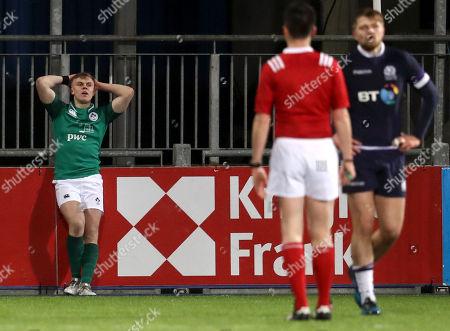 Ireland U20's vs Scotland U20's. Ireland's Michael Silvester dejected after Scotland's Kyle Rowe scored a try