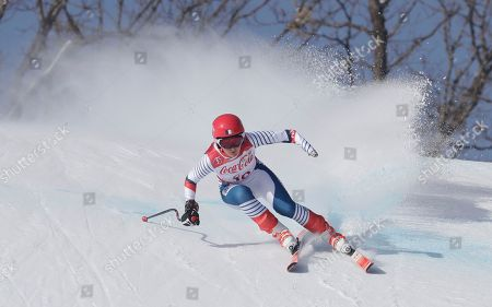 Marie Bochet of France competes in the women's downhill, standing, at the 2018 Winter Paralympics in Jeongseon, South Korea